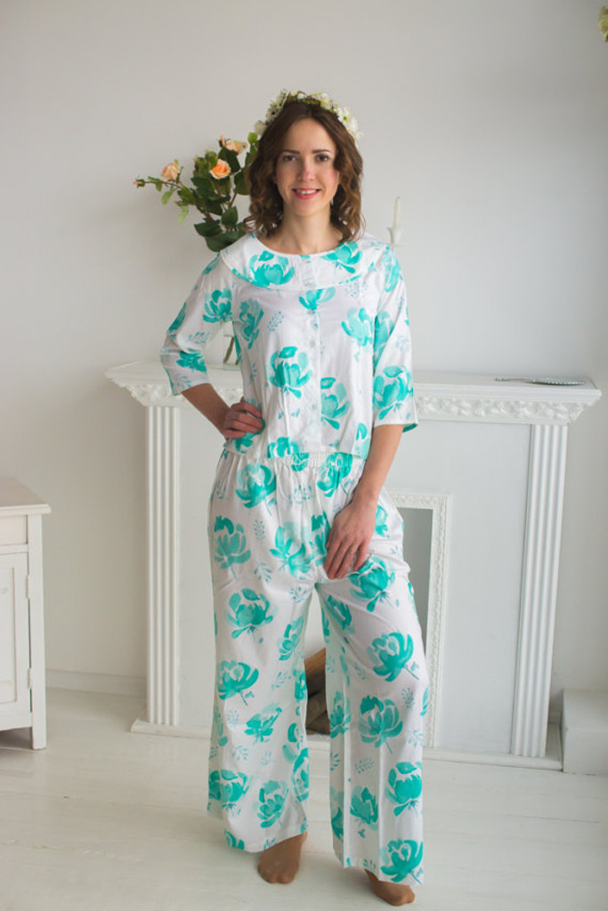 Boat Neckline Style long PJs in Blushing Flowers Pattern