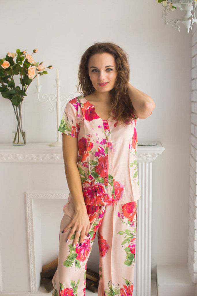 U-shaped neckline Style long PJs in Fuchsia Large Floral Blossom Pattern