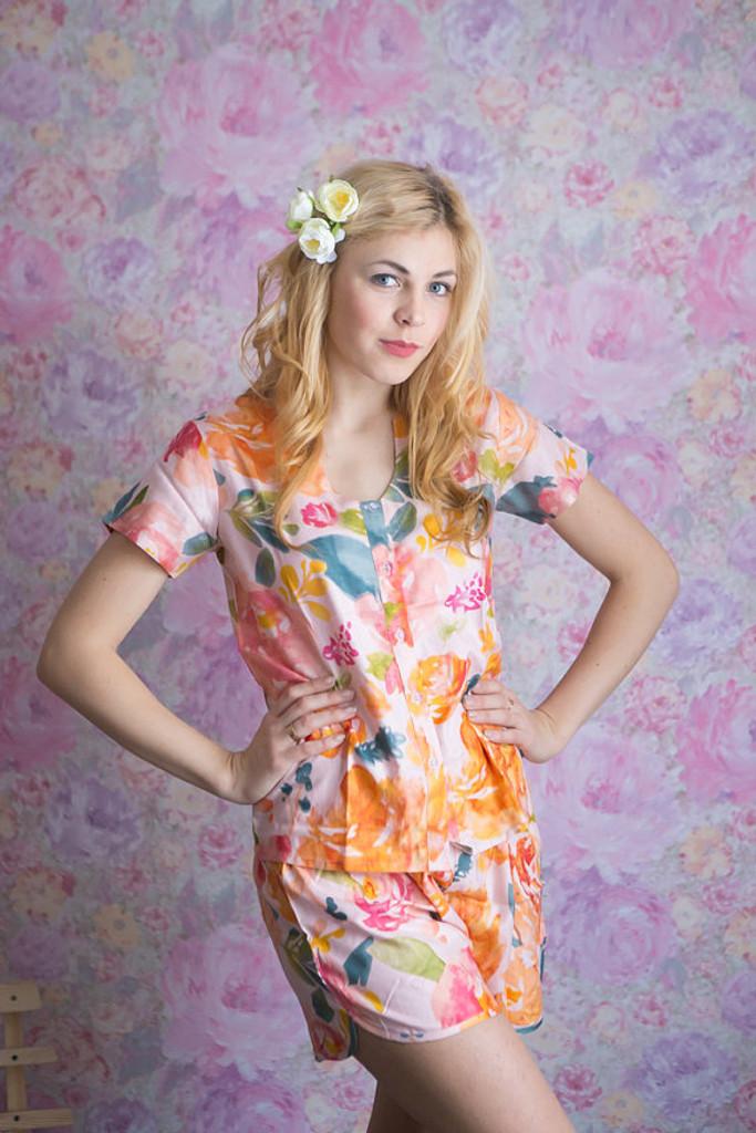 U-shaped neckline Style PJs in Her petal garden Pattern