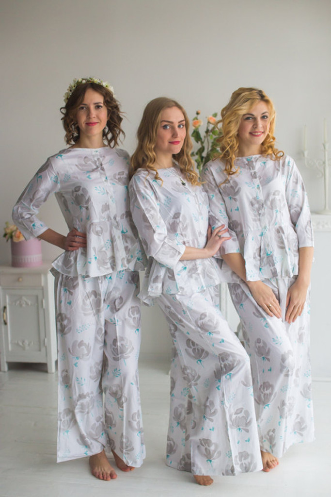 Peplum Style Long PJs in Blushing Flowers Pattern