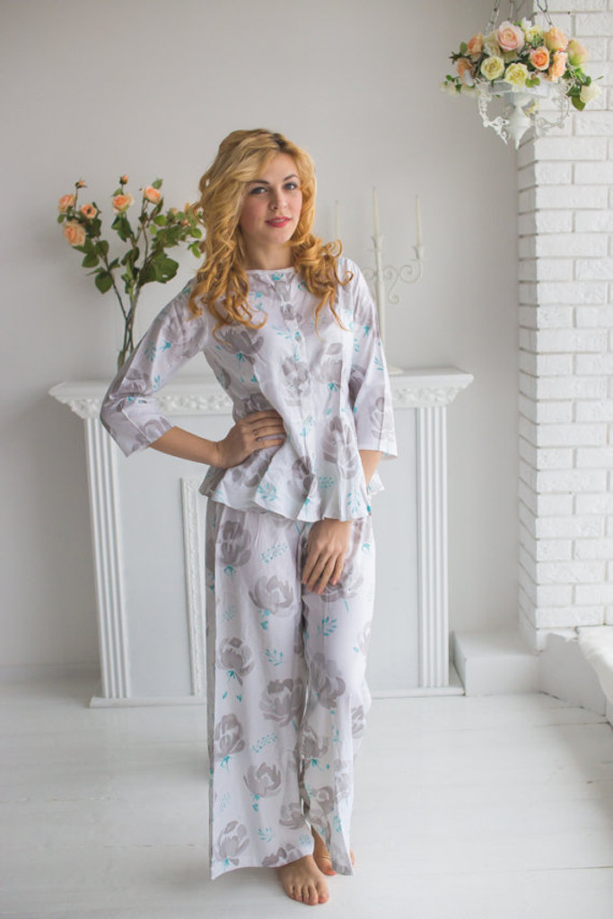 Peplum Style Long PJs in Blushing Flowers Pattern