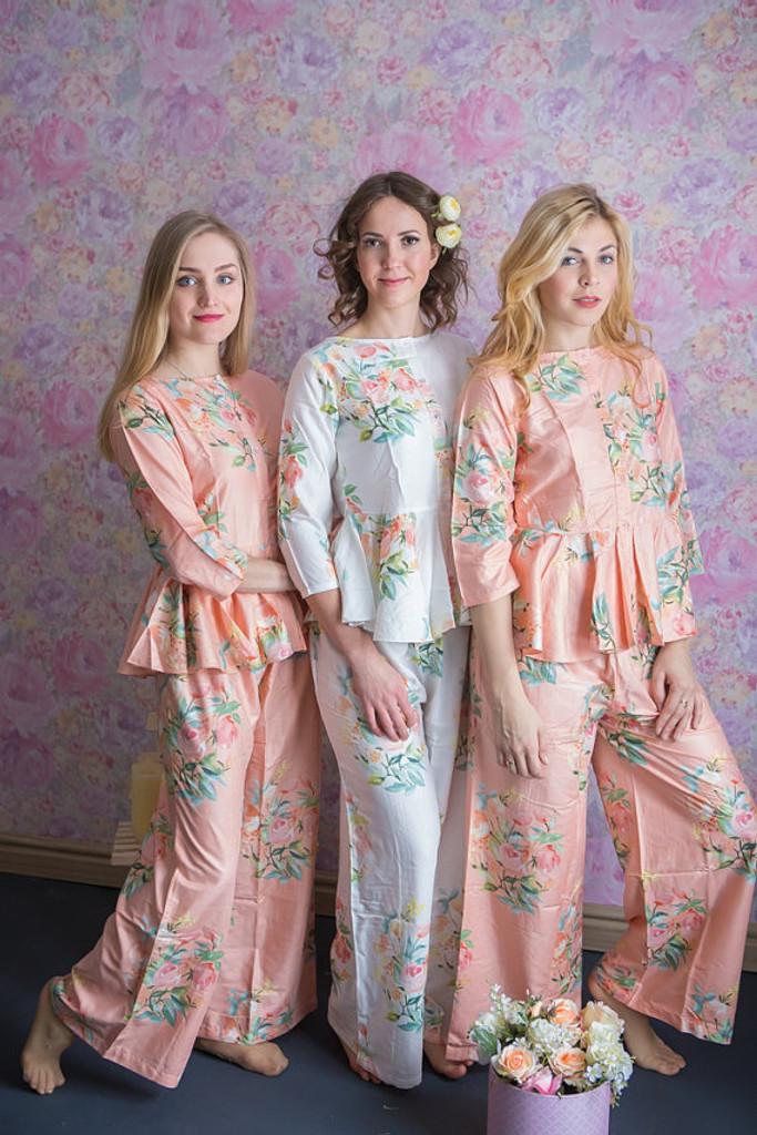 Peplum Style Long PJs in Angel Song Pattern