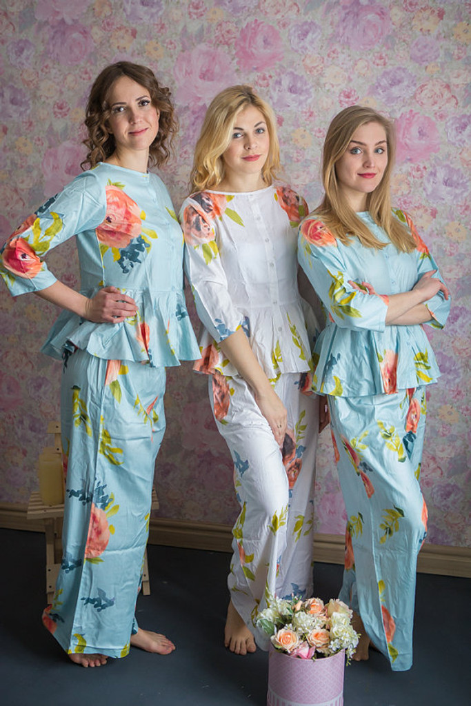 Peplum Style Long PJs in Smiling Blooms Pattern
