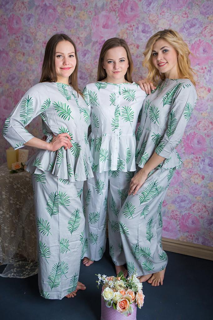Peplum Style Long  PJs in Tropical Delight Pattern
