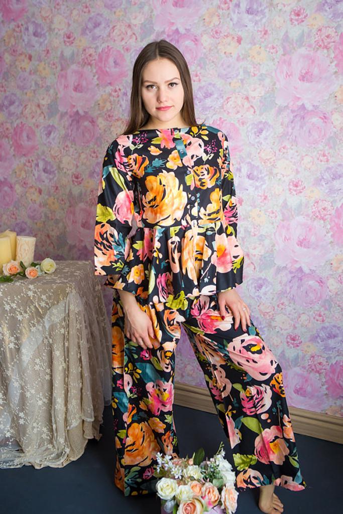 Peplum Style Long PJs in Her Petal Garden Pattern