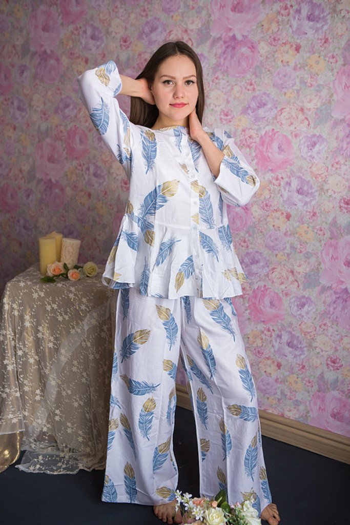 Peplum Style Long PJs in a feather rhyme Pattern
