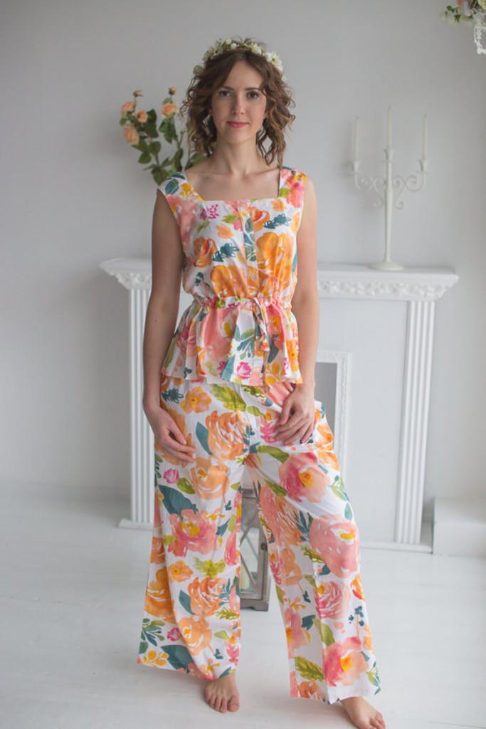Drawstring Style PJs in Her Petal Garden Pattern