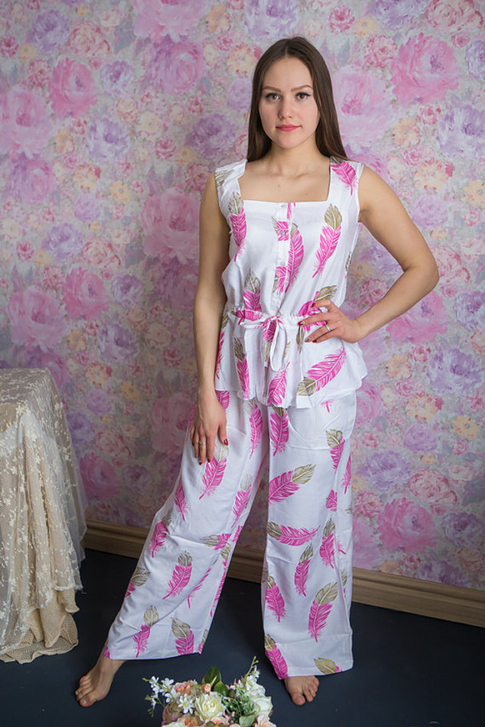 Drawstring Style Long PJs in a feather rhyme Pattern