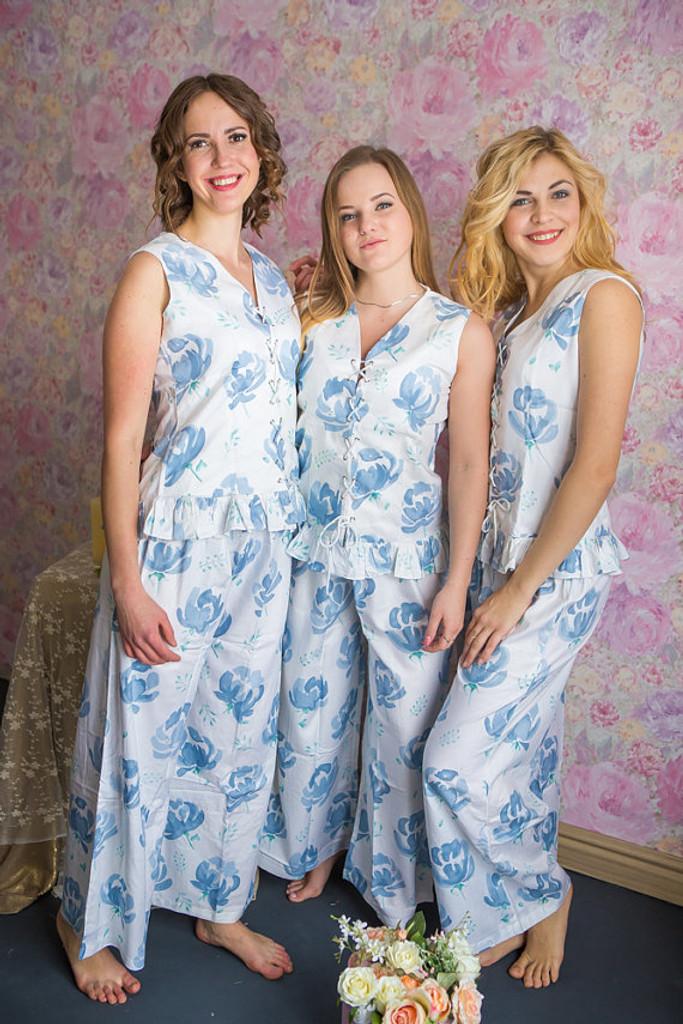 Corset Style Long PJs in Blushing Flowers Pattern