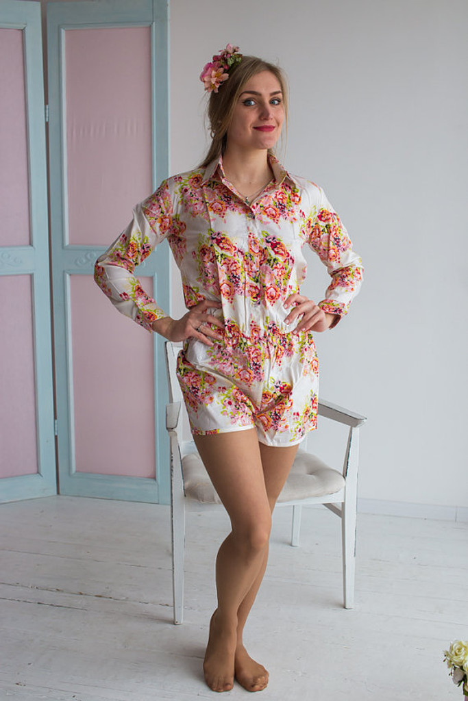 Shirt Style Bridesmaids Rompers in Floral Posy Pattern