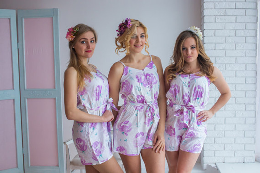 108b2f439cf8 Belted slip style bridesmaids rompers in blushing flowers pattern