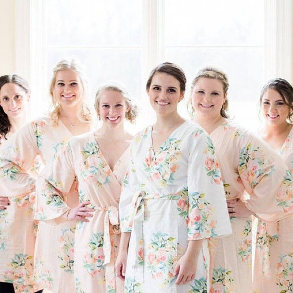 Dreamy Angel Song Pattern- Premium Blush Bridesmaids Robes