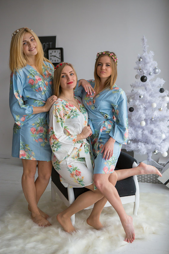 Dreamy Angel Song Pattern- Premium Dusty Blue Bridesmaids Robes