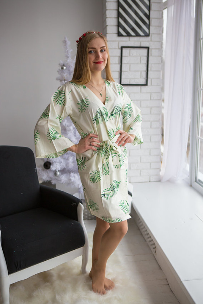 Tropical Delight Pattern- Premium Ivory Bridesmaids Robes