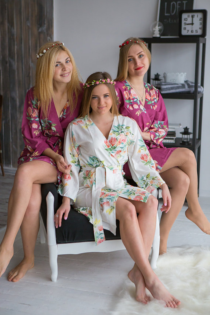 Dreamy Angel Song Pattern- Premium Plum Bridesmaids Robes Dreamy Angel Song Pattern- Premium Plum Bridesmaids Robes