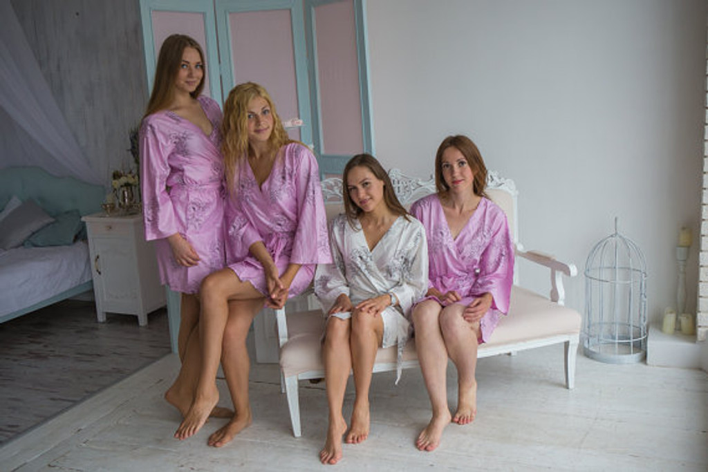 Lilac bridesmaids wedding robes in floral sketch pattern