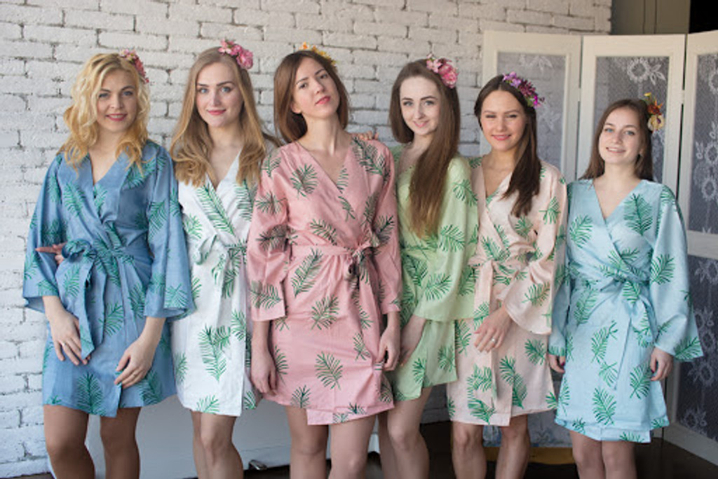 Tropical Delight Pattern- Premium Dusty Blue Bridesmaids Robes