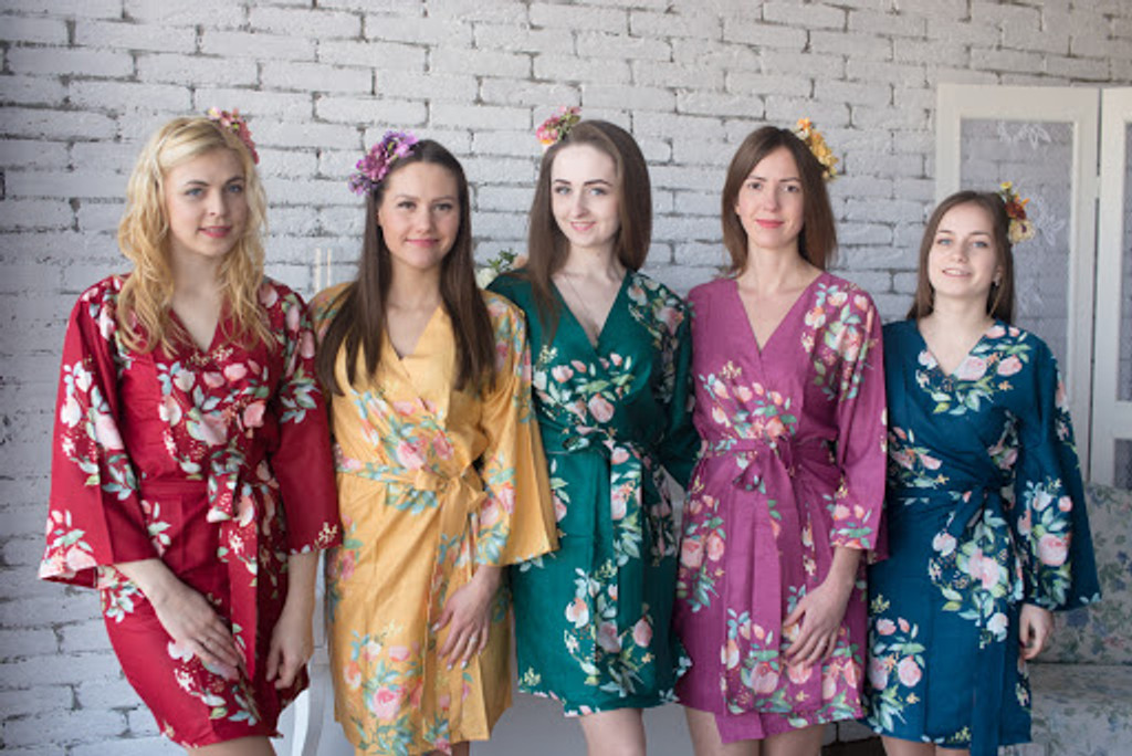 Dreamy Angel Song Pattern- Premium Dark Green Bridesmaids Robes