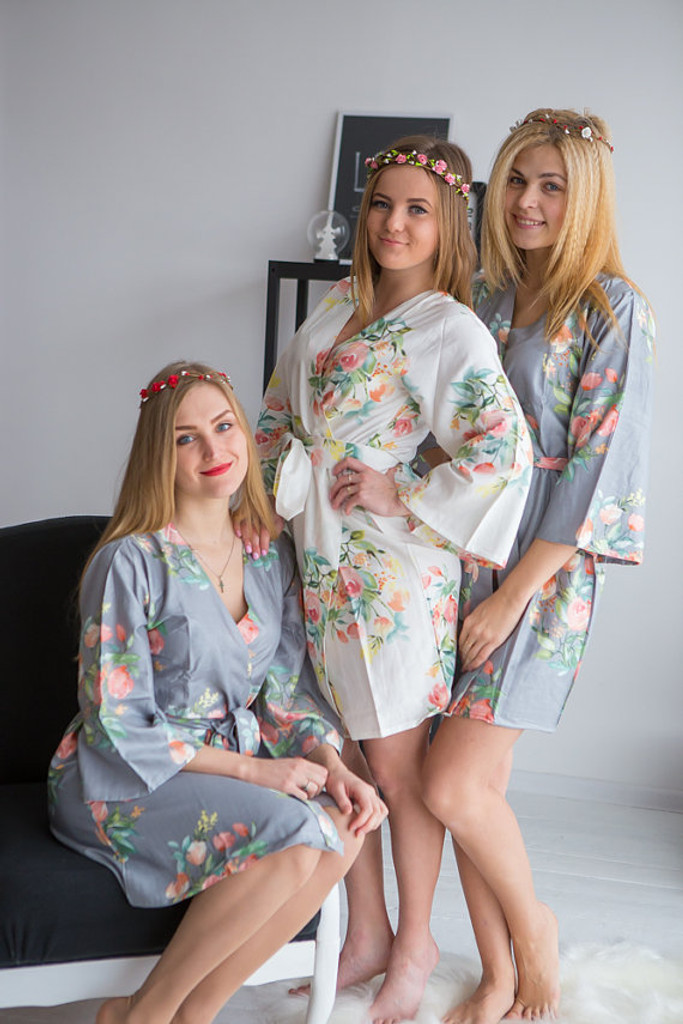 Dreamy Angel Song Pattern- Premium Steel Gray Bridesmaids Robes
