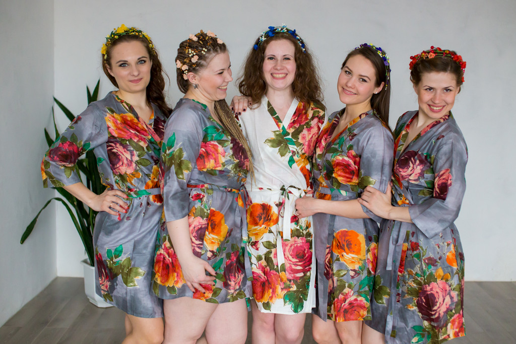 Gray Bridesmaids Wedding Robes In Floral Pattern