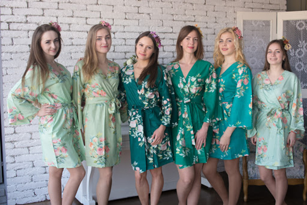 Dreamy Angel Song Pattern- Premium Blueberry Blue Bridesmaids Robes