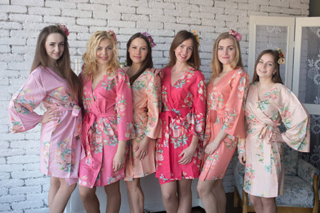 Dreamy Angel Song Pattern mismatched bridesmaids robes