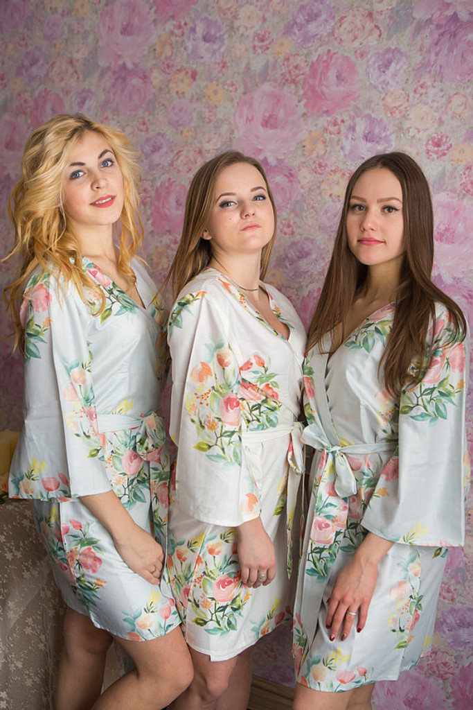 Dreamy Angel Song Pattern- Premium Ice Blue Bridesmaids Robes