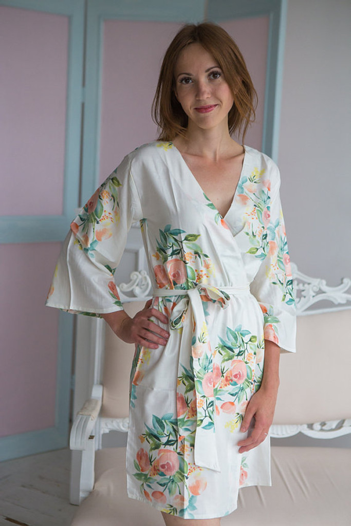 Dreamy Angel Song Pattern- Premium Dusty Mauve Bridesmaids Robes