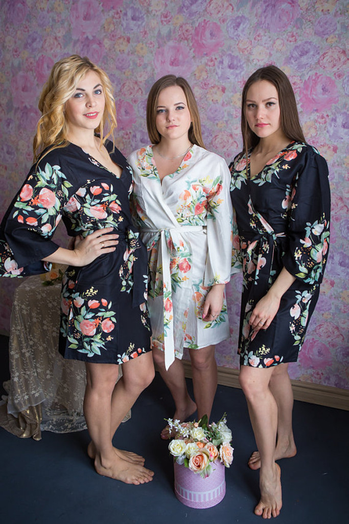 Dreamy Angel Song Pattern- Premium Black Bridesmaids Robes