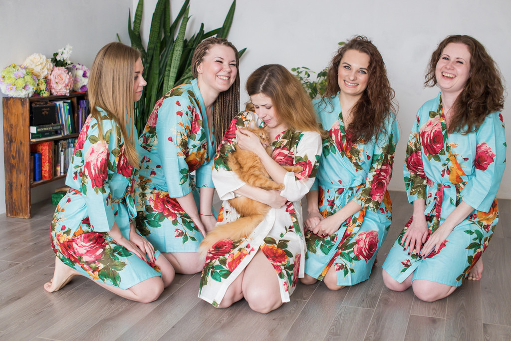 Light Blue Large Floral Blossom Robes for bridesmaids | Getting Ready Bridal Robes