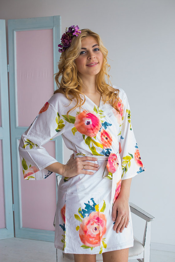 Smiling Blooms Pattern- Premium Navy Blue Bridesmaids Robes