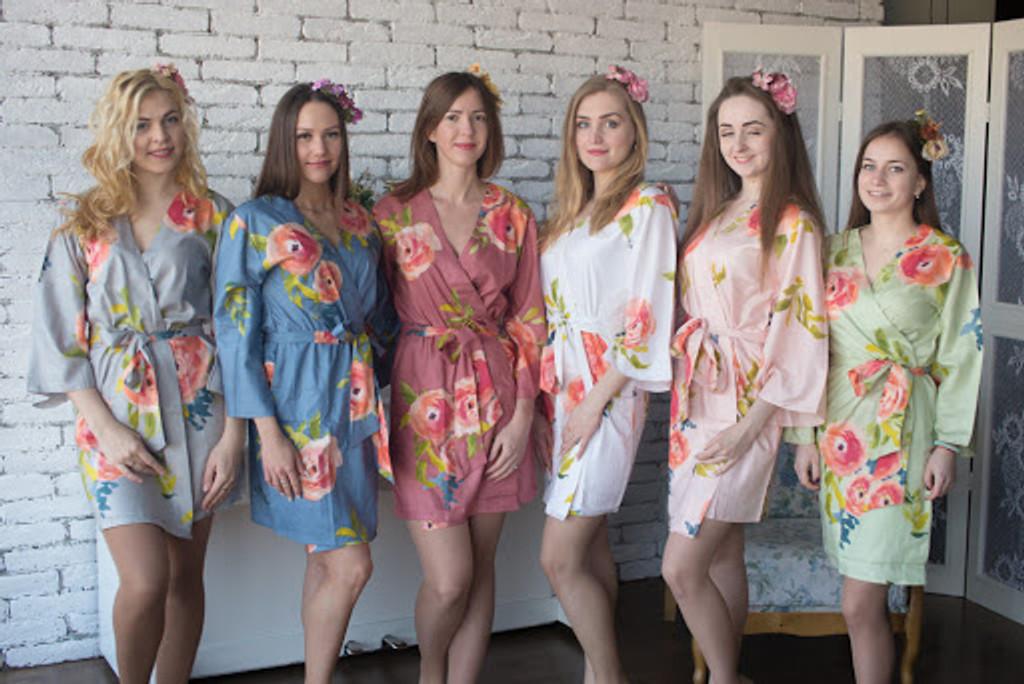 Smiling Blooms Pattern- Premium Blueberry Blue Bridesmaids Robes
