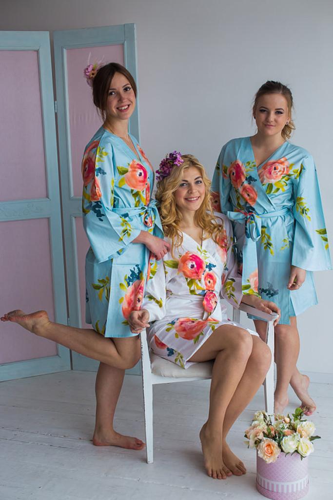 Smiling Blooms Pattern- Premium Light Blue Bridesmaids Robes
