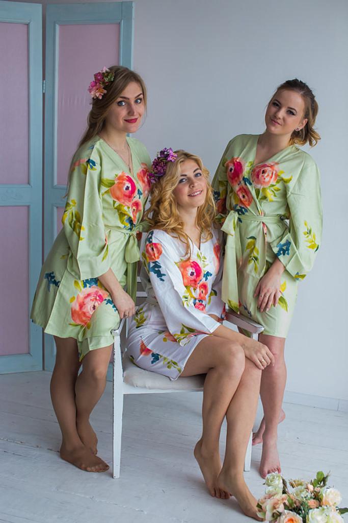 Smiling Blooms Pattern- Premium Mint Bridesmaids Robes