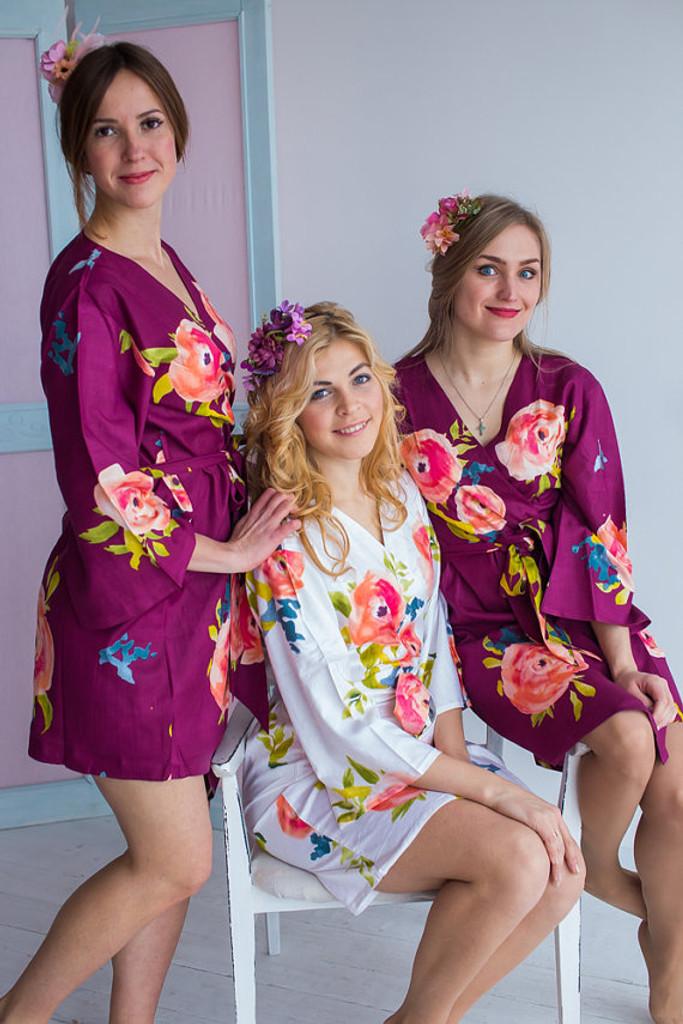 Smiling Blooms Pattern- Premium Plum Bridesmaids Robes