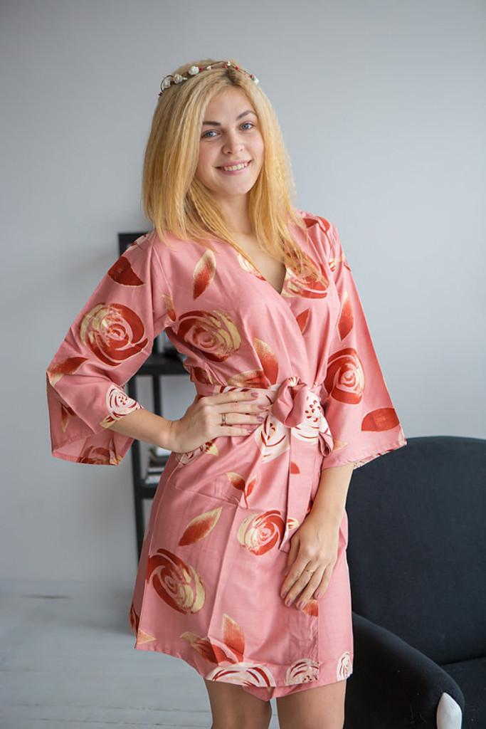 A rumor among Fairies Pattern- Premium Rose gold Bridesmaids Wedding Robes