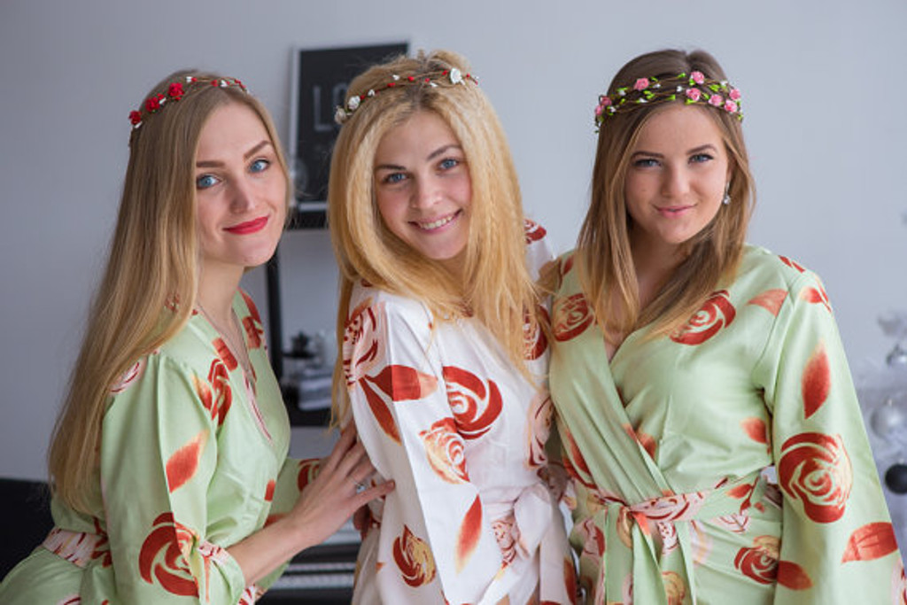 A rumor among Fairies Pattern- Premium Sage Bridesmaids Wedding Robes