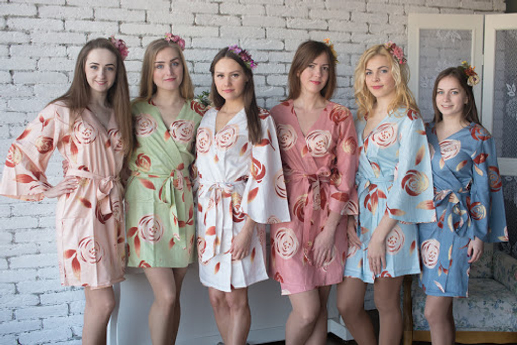 mismatched bridesmaids robes in flower print