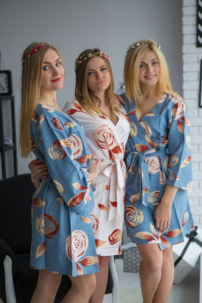Dusty blue bridesmaids wedding robes in rumor among fairies