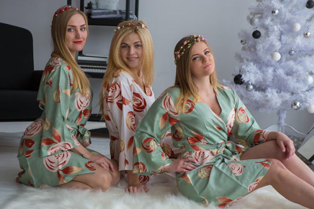 Grayed Jade bridesmaids wedding robes in rumor among fairies
