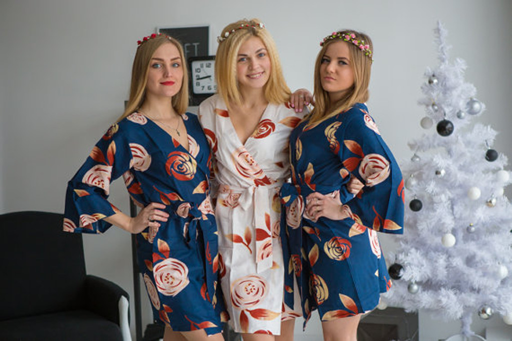 Navy blue bridesmaids wedding robes in rumor among fairies
