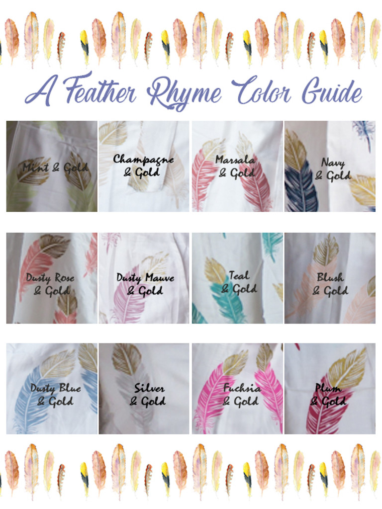 feather print  wedding robes color swatch