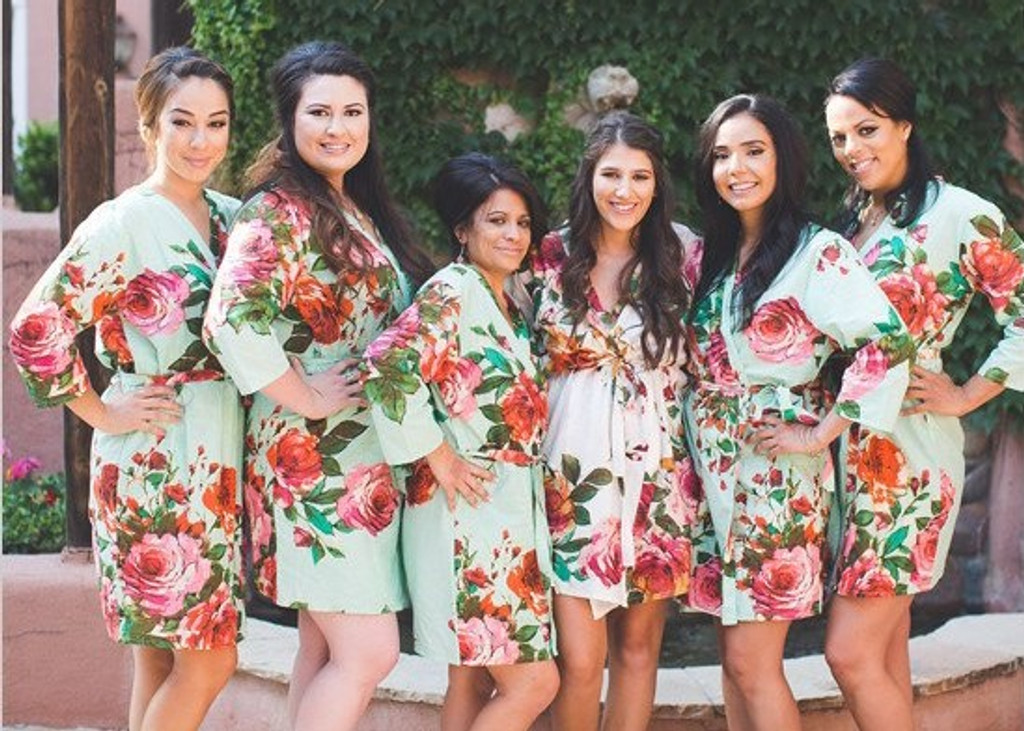 Mint Large Floral Blossom Robes for bridesmaids wedding robes