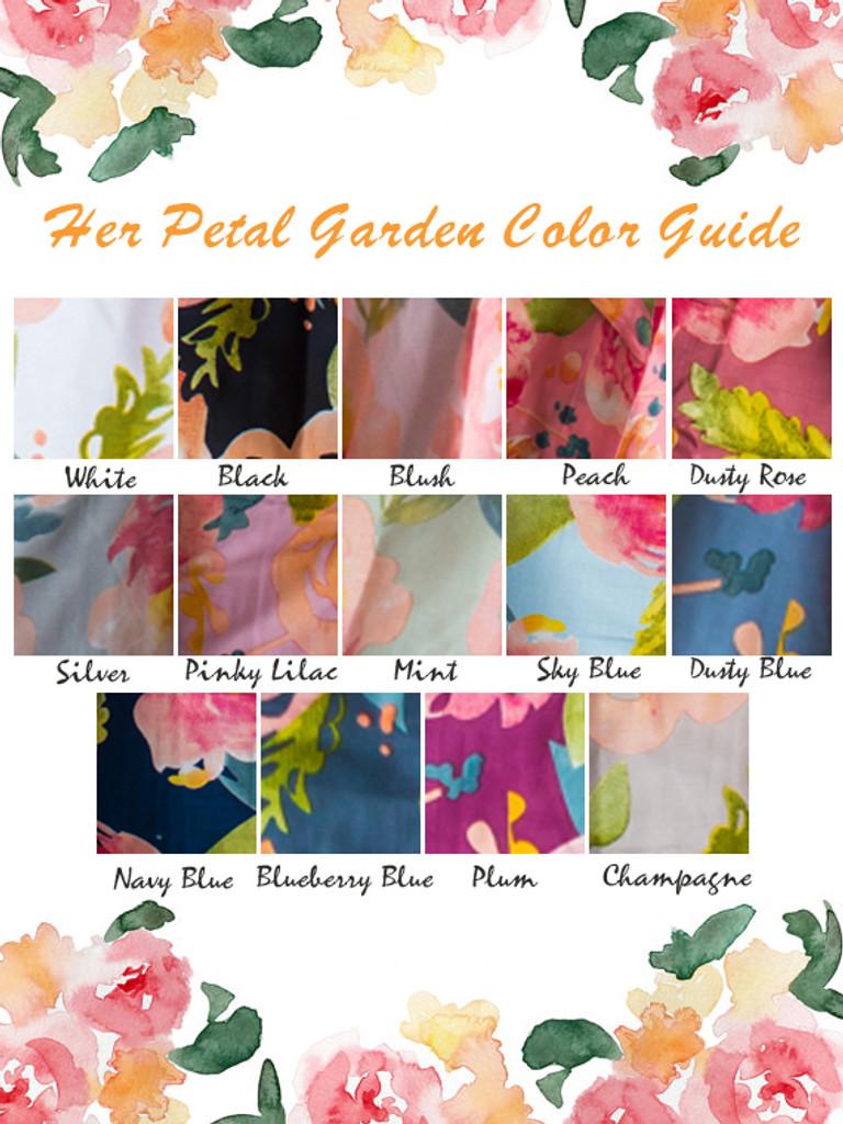 Her Petal Garden Pattern- Premium Champagne Bridesmaids Wedding Robes