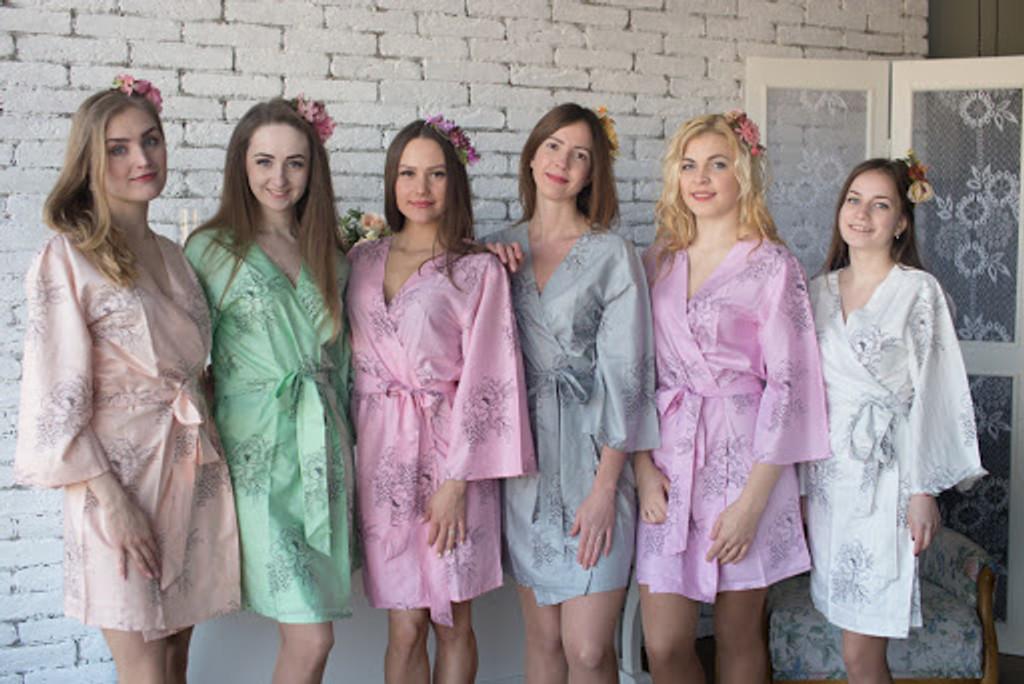 Premium Scalloped Trim Bridesmaids Robes -Floral Sketch mismatched wedding robes