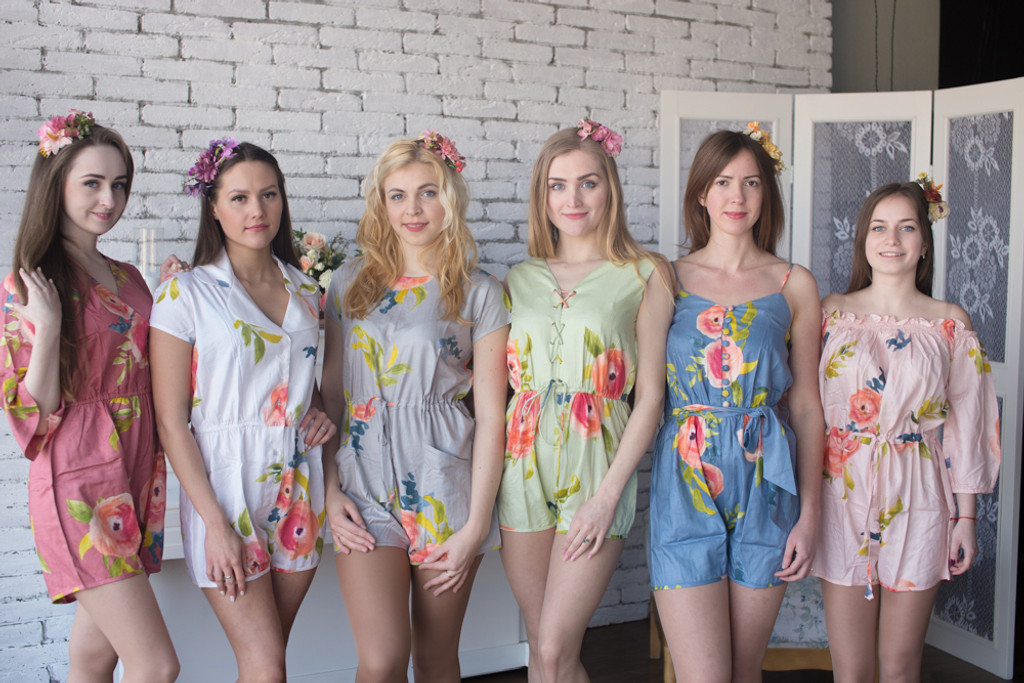 Mismatched Bridesmaids Rompers in Smiling Blooms Pattern