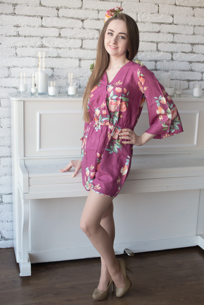 Jewel Toned Mismatched Bridesmaids Rompers in Dreamy Angel Song Pattern