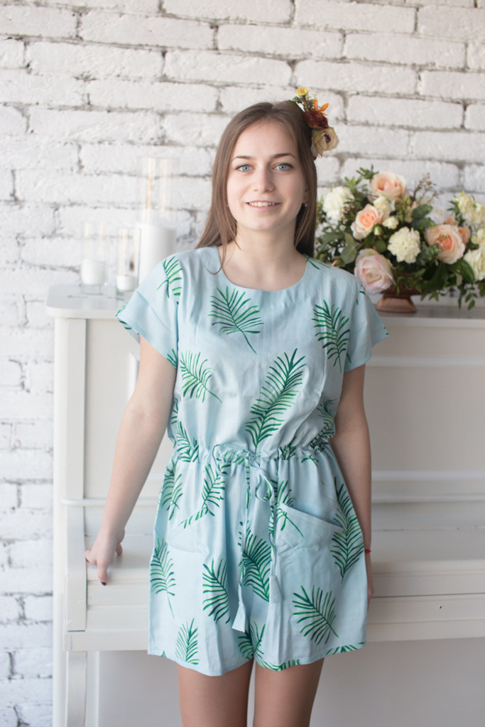 Mismatched Bridesmaids Rompers in Tropical Delight Palm Leaves Pattern