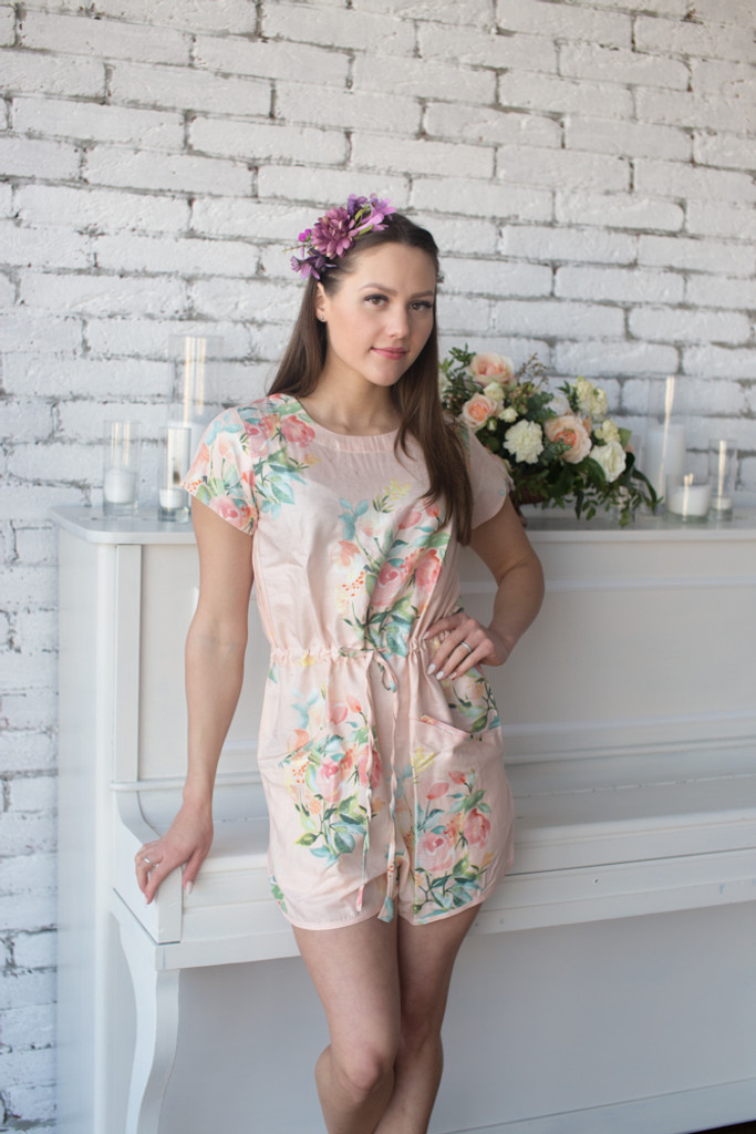 Wedding Colors Mismatched Bridesmaids Rompers in Dreamy Angel Song Pattern