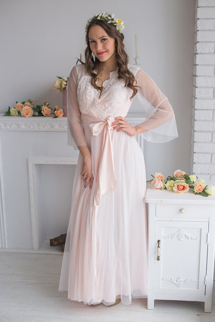 98753cf74 Lace Blush Bridal Robe in Sweetly Scalloped